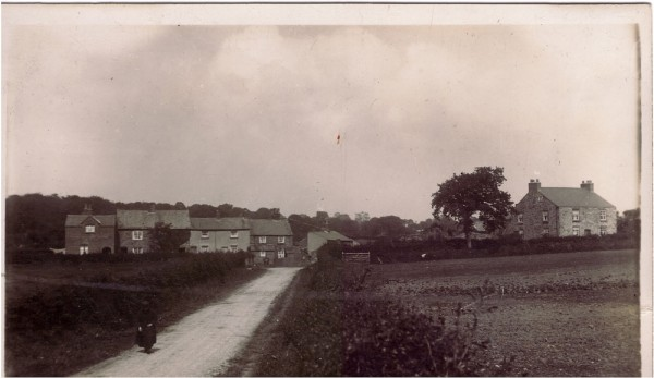 The lady is walking along the road now known as Vownog Newydd. The large house on the right was the home of Jack Tyson who figures frequently on this page with his letters from France to the County Herald. It is said that the house was once used as the first school in Sychdyn