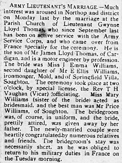 Sychdyn girl weds soldier. The County Herald 9th July 1915