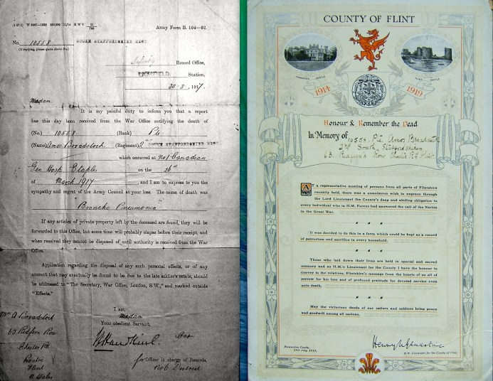 Death report and memorial certificate