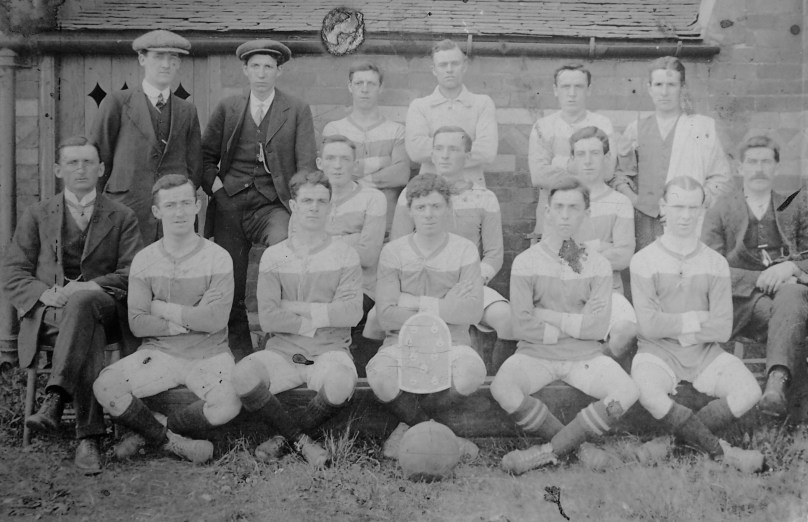 St David's FC, Oakenholt (1913–14). Jack is right in the middle of the front row with the ball at his feet