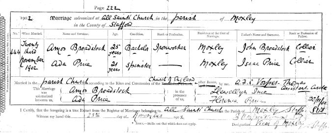 Amos and Ada's marriage certificate