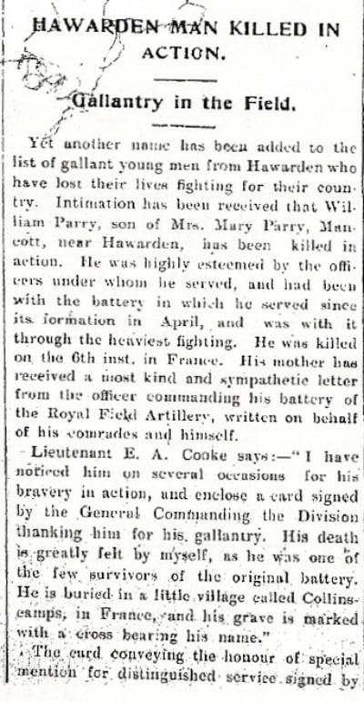 Flintshire Observer 30th September 1915, Page 7 Col. 3-4