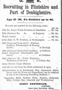 Poster - Recruiting in Flintshire. Flints. Obs. 3rd June 1915 Page 7 Col 6-7