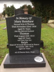 Ralph Henshaw, new headstone