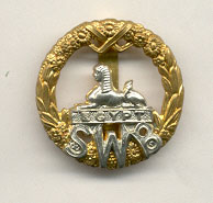 South Wales Borderers cap badge, showing the Sphinx