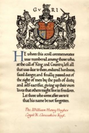 WW1-17-1 Commemorative Scroll