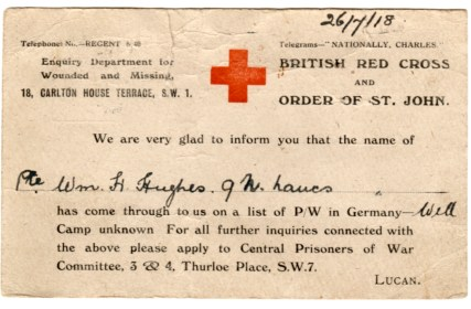 WW1-17-5 British Red Cross postcard re W H Hughes