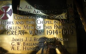 St. Ethelwold's Roll of Honour WW1 (Screen) Brass Plaque 2