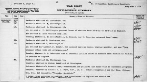 canadian stationary hospital war diary reduced