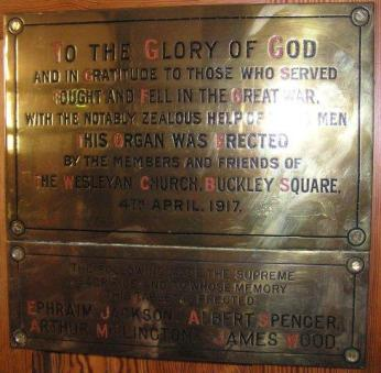 Buckley Cross plaque right on organ (2)