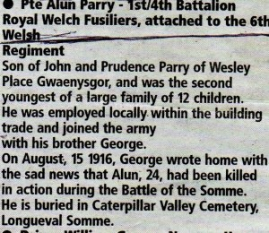 newspaper cutting re. unveiling the war memorial from ancestry (4)