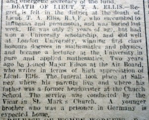 ELLIS,T.A. Lieu. Death of Flintshire Observer 12th December 1918 (Page 3 Col 4) - 2