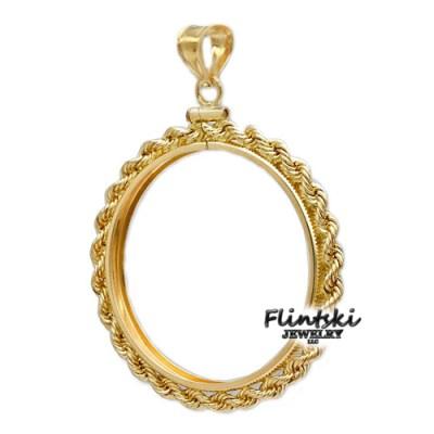 1/20th 14k Gold Filled Rope Coin Bezel Frame Mount Pendant