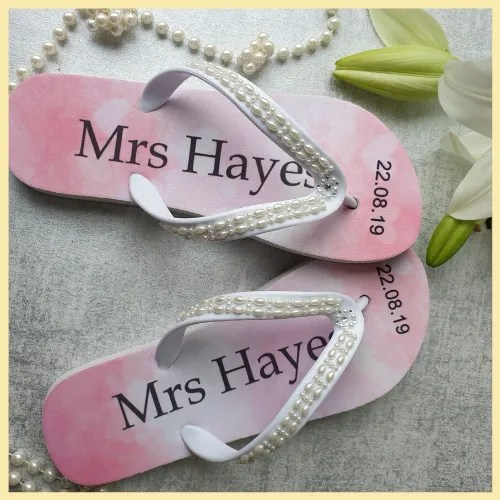 Pink wedding personalised flip flops with embellished straps