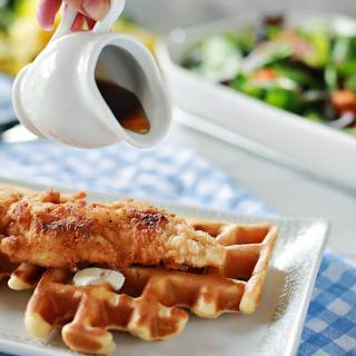 Incredible fried chicken recipe! with amazing waffles too!!! Easy recipes by Flirting with Flavor.