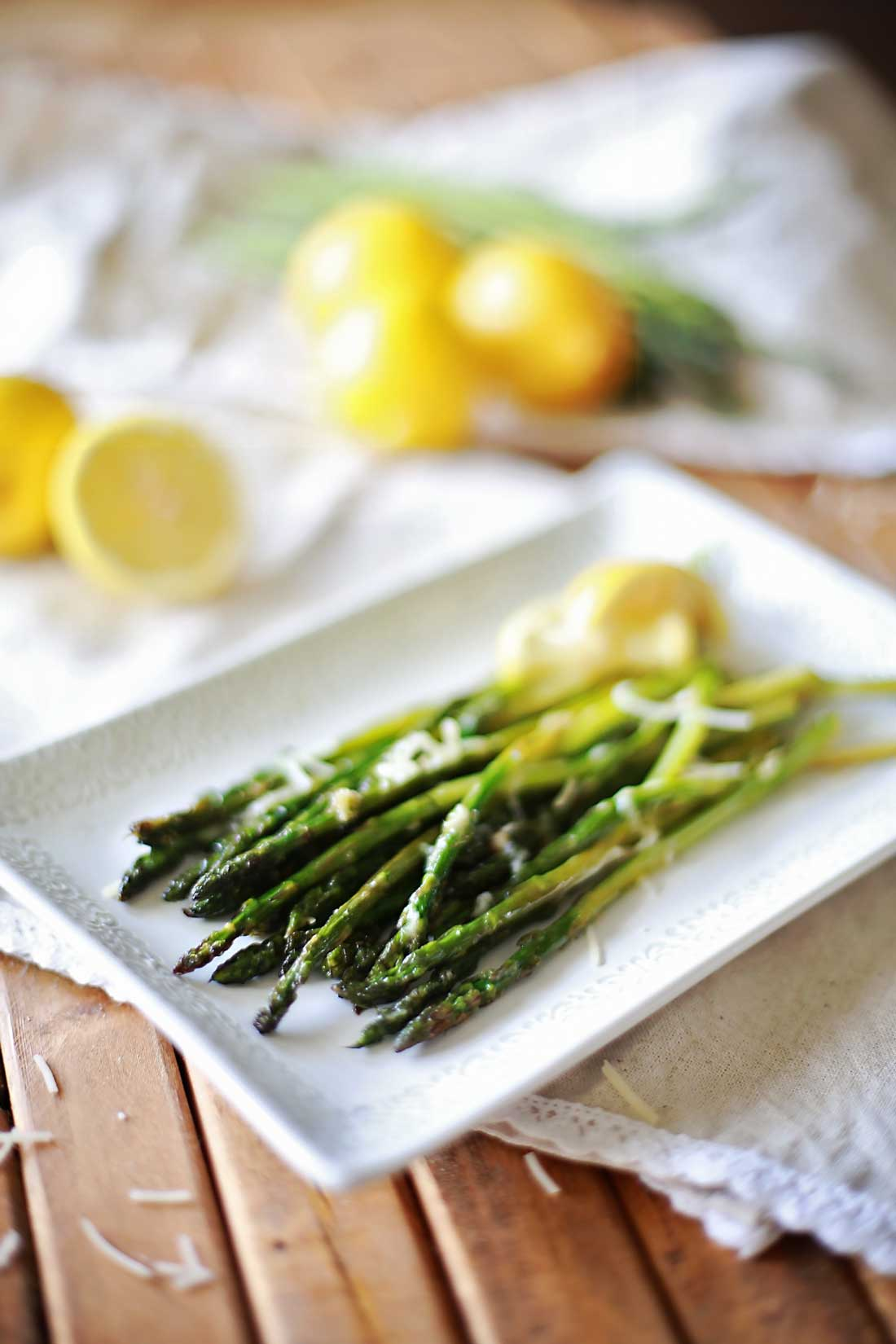 Lemon Parmesan Roasted Asparagus by Flirting with Flavor