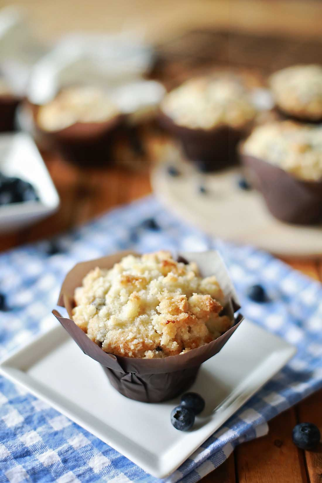 AMAZING Blueberry muffins with Cream Cheese centers and topped with Streusel!