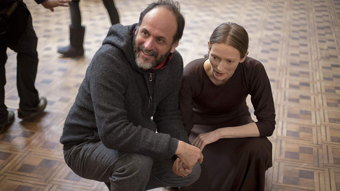 Luca Guadagnino and Tilda Swinton behind the scenes of the Suspiria remake