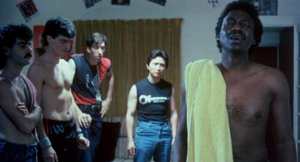 An infamous scene of friendship and shirtlessness in Miami Connection (1987)