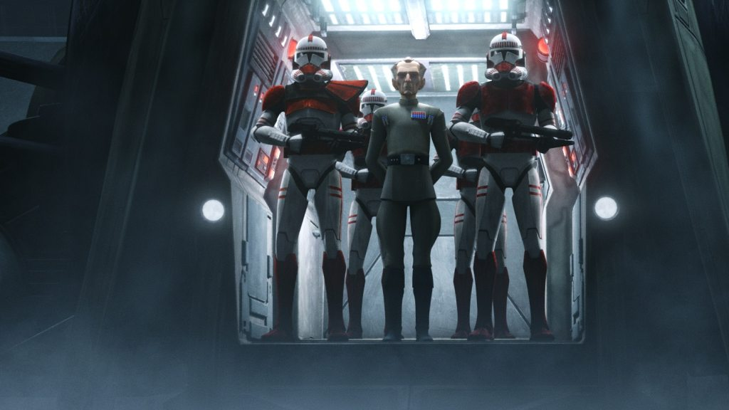 Admiral Tarkin flanked by clone troopers