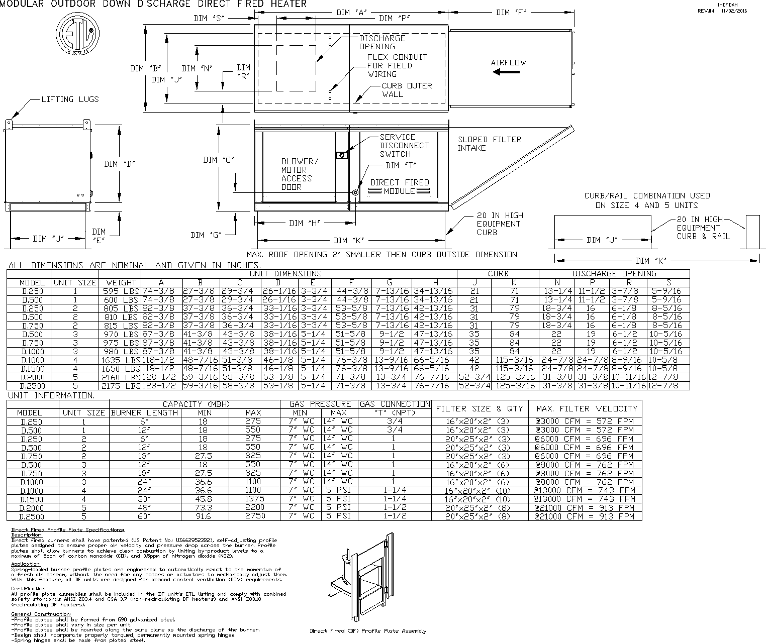 Direct Fired Heater Submittal Drawing