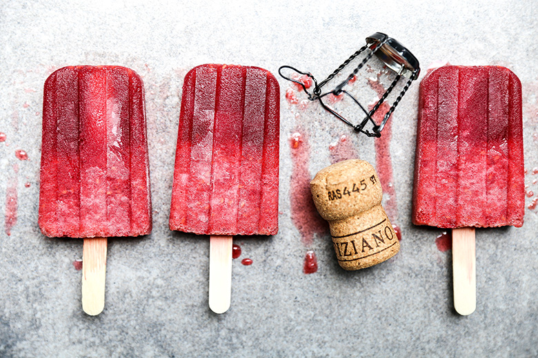 prosecco raspberry popsicles popsicle