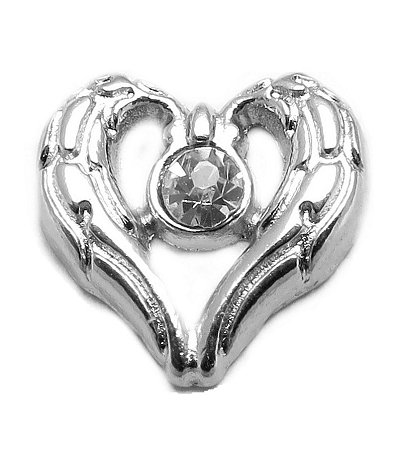 TJ Silver Angel Wings with Crystal Floating Charm Plus