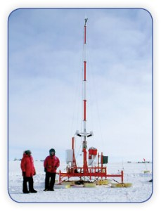 Data collection mast on Antartica