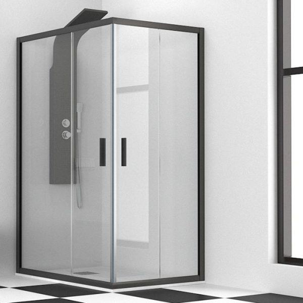 Karag Efe 100 Nero Black Rectangular Shower Enclosure 5mm Corner Entry 6 Dimensions Flobali