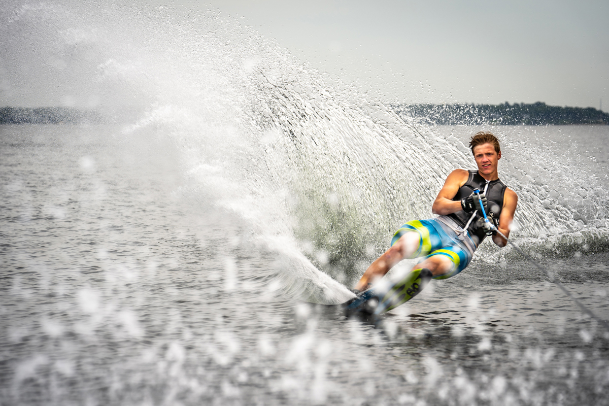 Varatti Boats Young Man Water Skiing