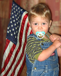 Dylan holding the flag