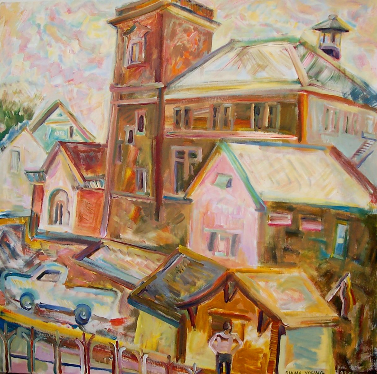 Customs House, Eastport, 2008, Diana Young, American b. 1936, 40 x 40 inches, acrylic on canvas, $2800