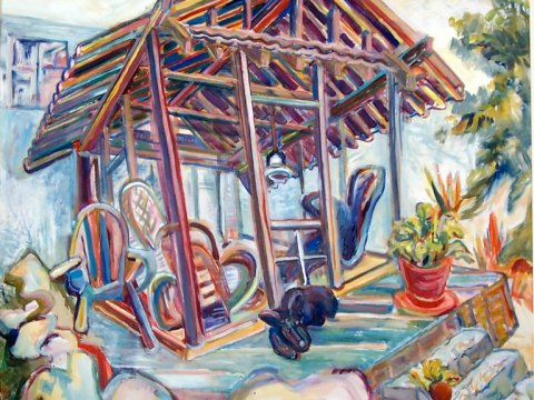 Sydney's Garden House, 2004, Diana Young, American b. 1936, 36 x 36 inches, gouache, $3240