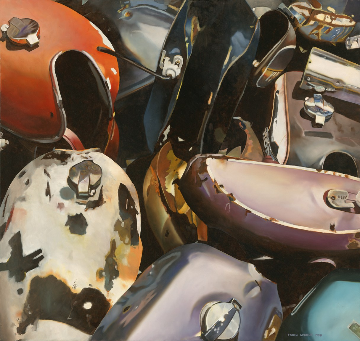 Gas Tanks, 1998, Tobin Sprout, American b. 1955, 38 x 36 inches, oil on canvas, $9500 The play of realism and abstract in this portrait of industrial design weathered by the elements is an impressive achievement. One of the last of the series available and a very impressive work by Sprout.
