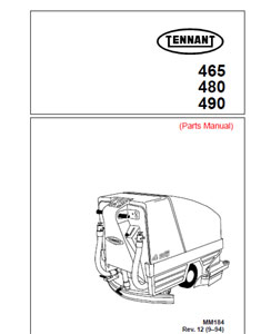 Parts Manual for Tennant auto scrubber 465, 480, 490
