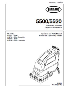 Parts Manual for Tennant 5500 & 5520