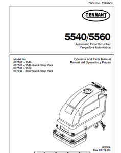 Parts Manual for Tennant 5540 & 5560