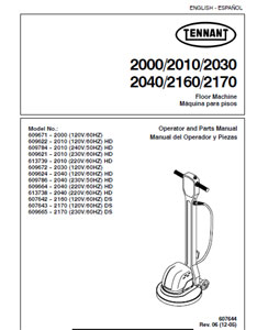 Parts Manual for Tennant 2000, 2010, 2030, 2040, 2170