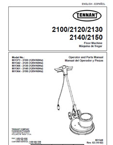 Parts Manual for Tennant 2100, 2120, 2130, 2150