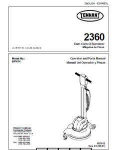 Parts Manual for Tennant 2360