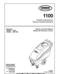 Parts Manual for Tennant 1100