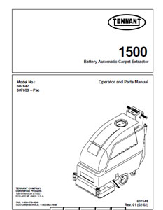 Parts Manual for Tennant 1500