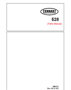 Parts Manual for Tennant 528 Rider Scrubber