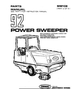 Parts Manual for Tennant 92 & 92GR Sweeper