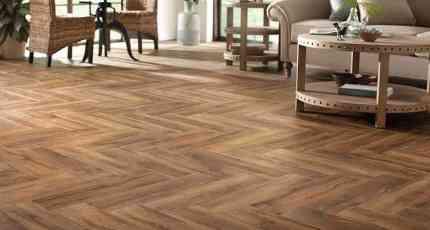 Herringbone Wood Look Tile Living Room