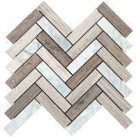 Interceramic Marble Mosaic Herringbone Contemporary Blend