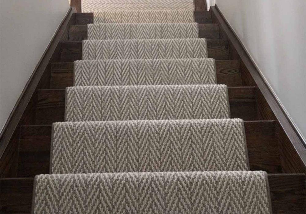 Herringbone Design Runner Floorians | Herringbone Carpet For Stairs | High Traffic | Textured | Classical Design | Striped | Carpet Stair Treads