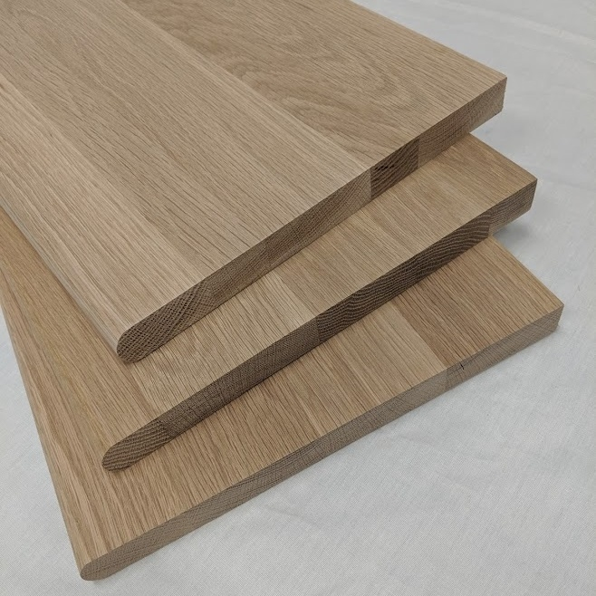 Bullnose Stair Treads 1 X 11 1 2 Unfinished Or Prefinished   Real Wood Stair Treads   Outdoor Rubber   Solid Oak   Acacia   Red Oak   Standard Length 48