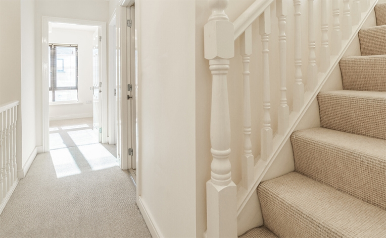 What Is The Best Type Of Carpet For Stairs Flooring America   Different Carpet On Stairs To Landing   Des Kelly   Striped Carpet   Wood   Grey Carpet   Flooring
