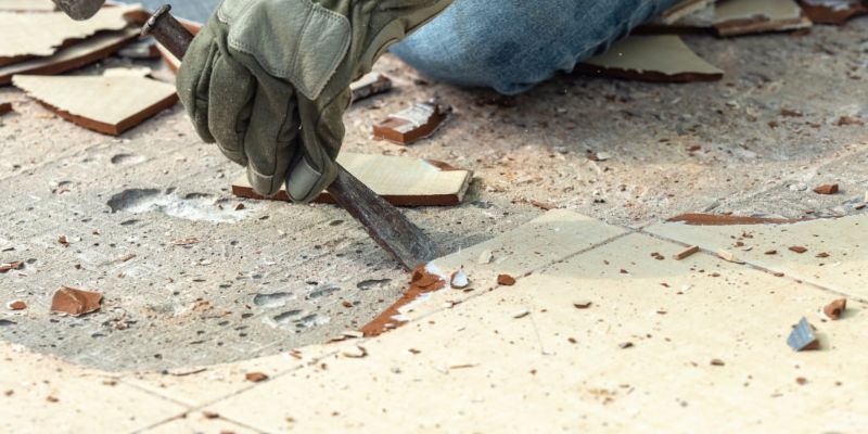 how to remove tile from a concrete floor